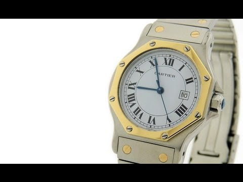 Cartier Santos Octagon 18K Gold & Steel Automatic Date Mid Size 30mm Watch