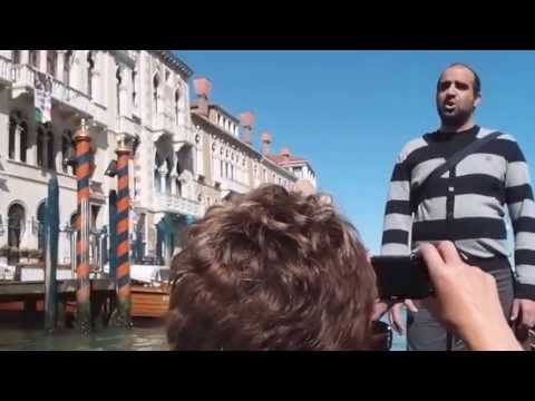Gondola ride with accordian and singer performing