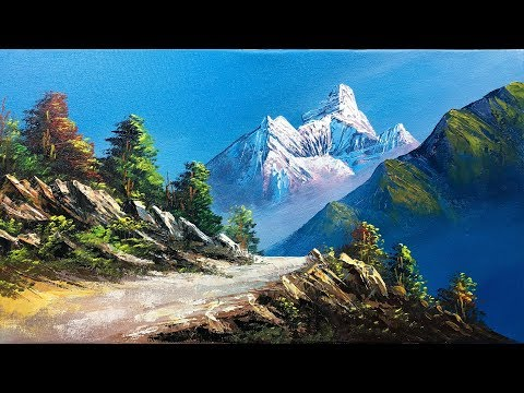 HOW TO MAKE A BEAUTIFUL SCENERY PAINTING | NATURE LANDSCAPE PAINTING TUTORIAL BY BK ART GALLERY