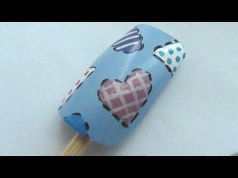 Patchwork Hearts Nail Art Tutorial