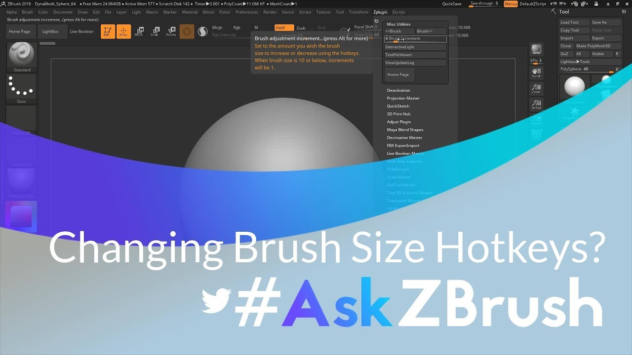 "#AskZBrush: ""How can I change the hotkeys for changing brush size?"""
