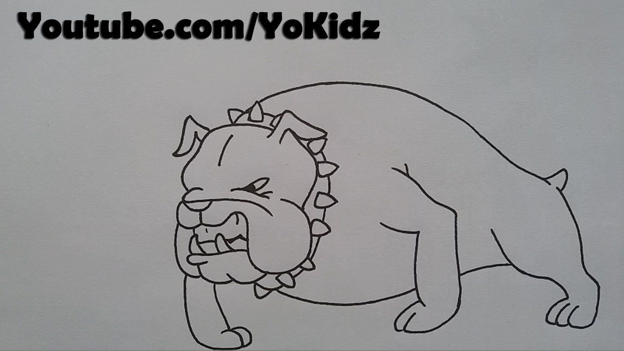 How to draw a BullDog for kids easy and simple  YouTube