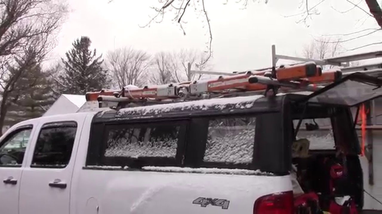 How to modify a truck cap to carry a ladder rack - YouTube