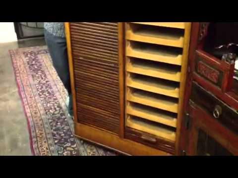 Antique Furniture, Rare Oak File Cabinet Or Specimen Cabinet