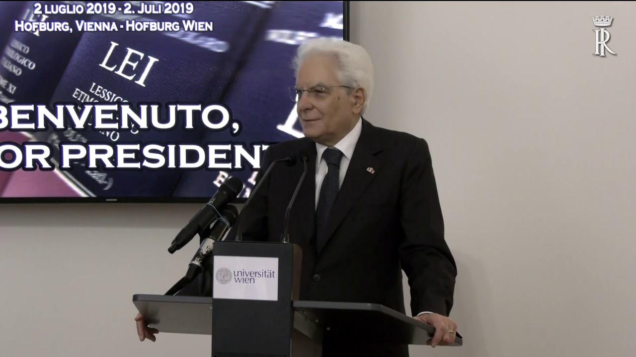 Mattarella - intervento al Centro viennese per il Lessico Etimologico Italiano