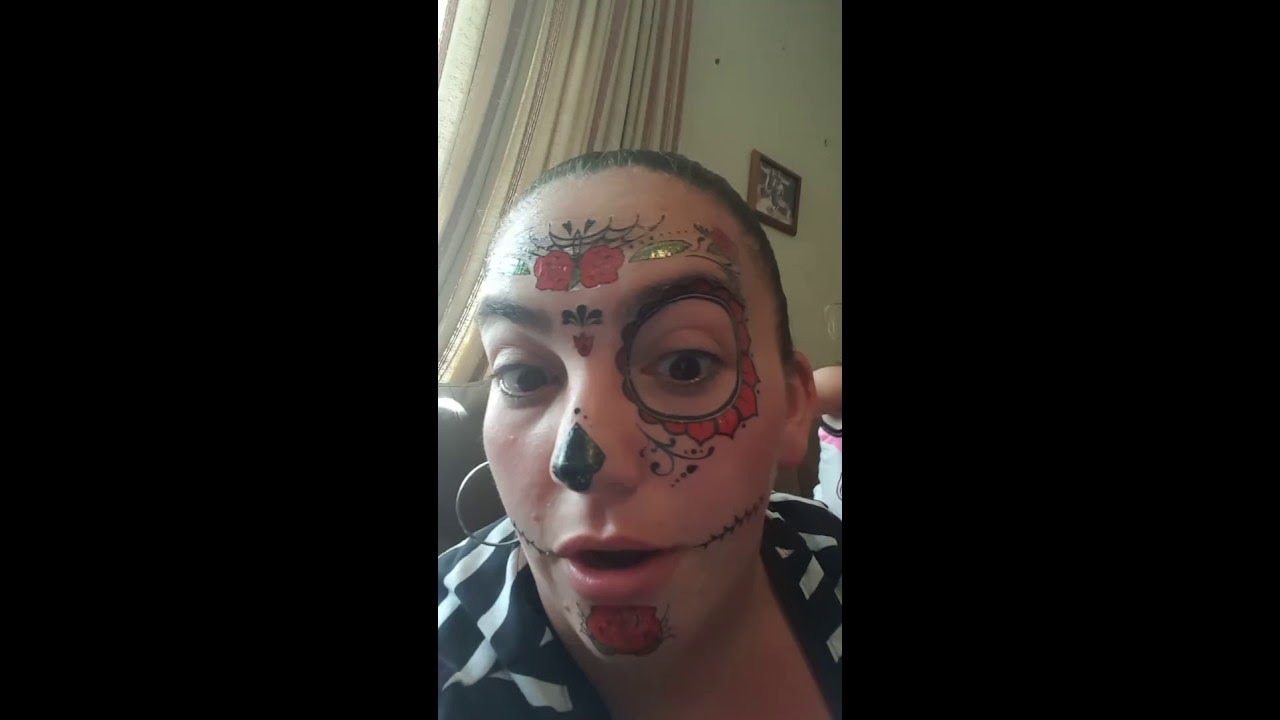 How To Put On A Dia De Los Muertos Face Tattoo For Halloween Youtube