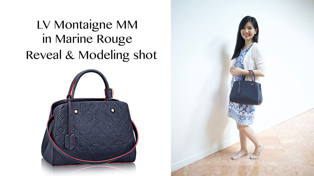 f77ce17f833bf LV Montaigne MM in Marine Rouge reveal and modeling shot - YouTube