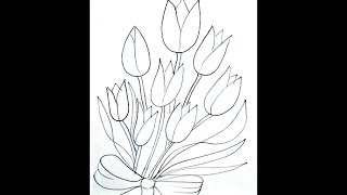BOUQUET OF TULIPS COLORING PAGE, how to draw for kids