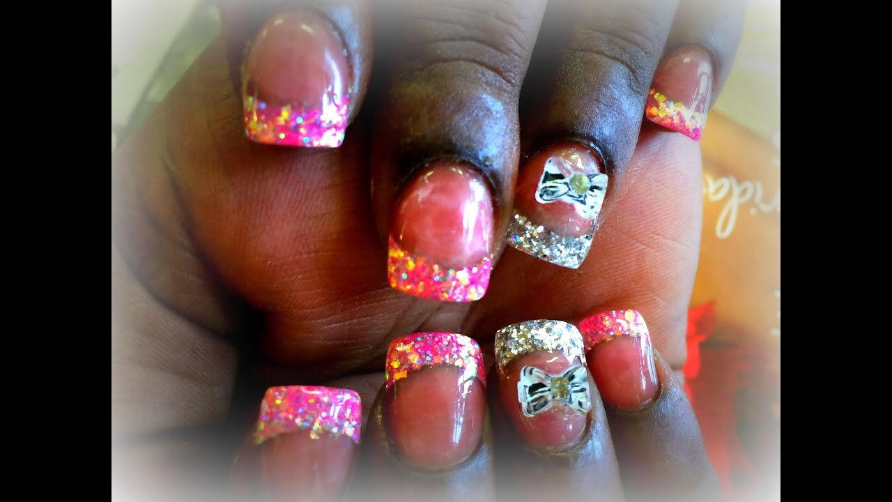 Acrylic Nails | Pink & Silver Glitter Tips | 3D Bow Design ...