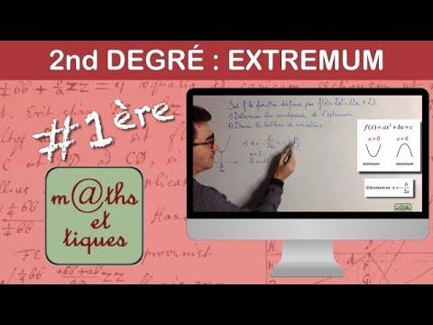 Déterminer l'extremum d'une fonction du second degré - Seconde