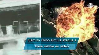 """En el video """"El dios de la guerra H-6K, al ataque"""" se ve cómo despegan los bombarderos de una base en medio del desierto, luego disparan un misil sobre una pista que se asemeja a la base Andersen de Guam"""