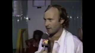 After performing in philadelphia during live aid, phil collins did an interview with mtv.video taped by boomer