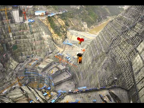 Construction of the largest arch dam in the world