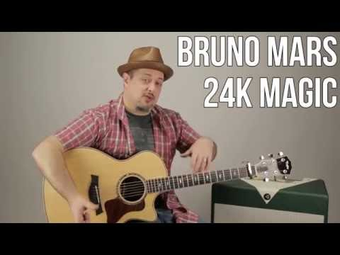 Bruno Mars - 24k Magic - How to Play on Guitar - Guitar Lesson - Easy Acoustic Songs