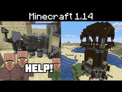 Minecraft 1.14 - Pillager Outpost, Village Raids, Bad Omen Effect