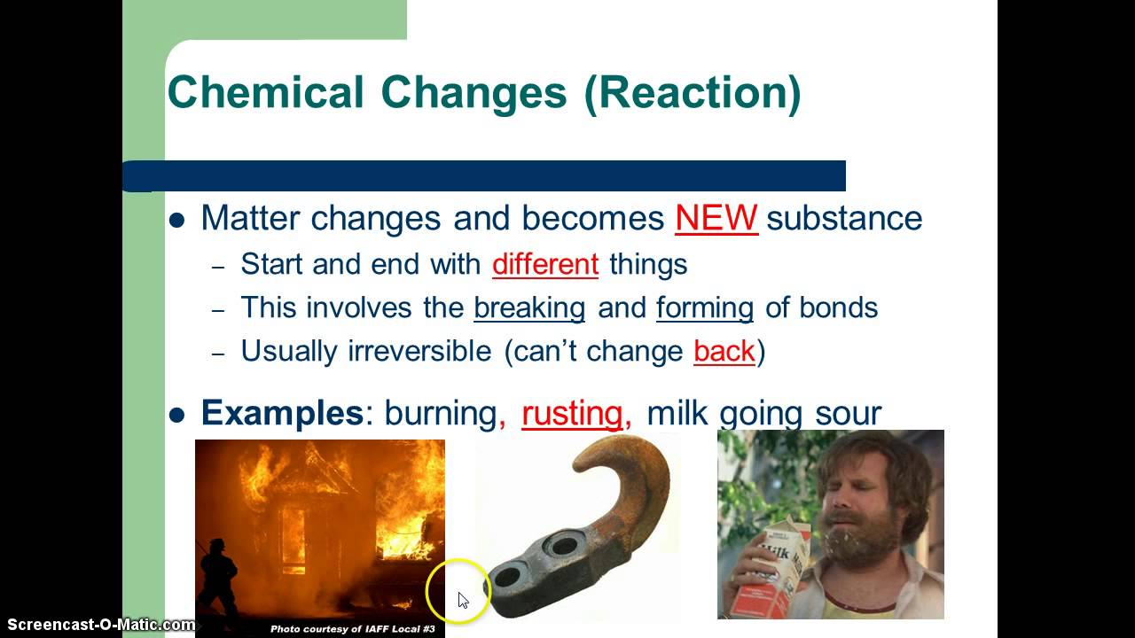 Physical Vs Chemical Changes Youtube