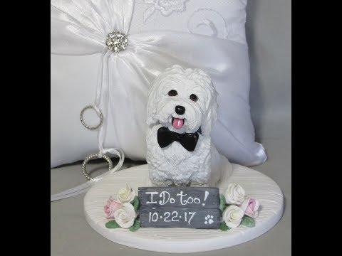 custom-polymer-clay-dog-wedding-cake-topper-coton-de-tulear!