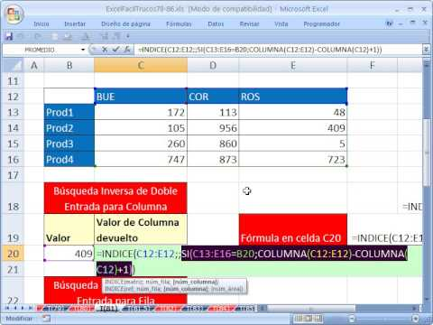Excel Facil Truco #81: Busqueda Inversa de Doble Entrada Sin ...