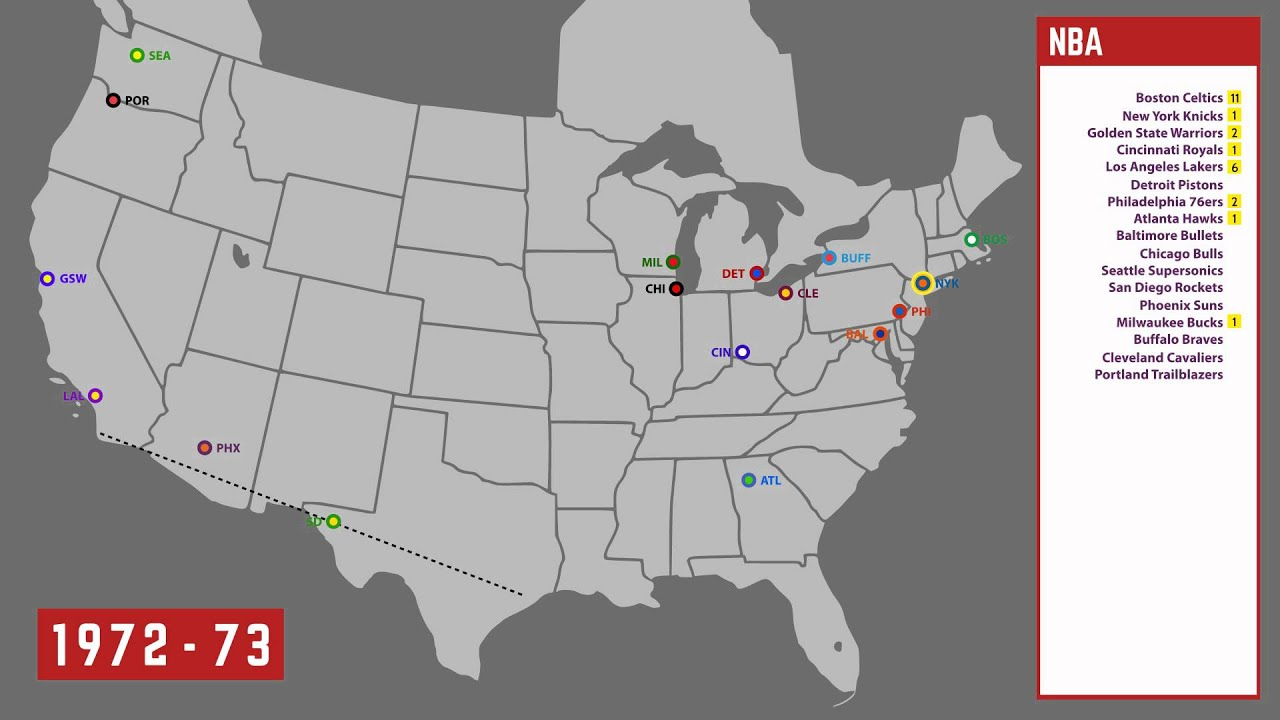 History Map of the NBA, 1946-2015 - YouTube