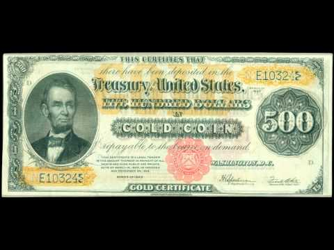 United States Paper money Currency Gold Certificates