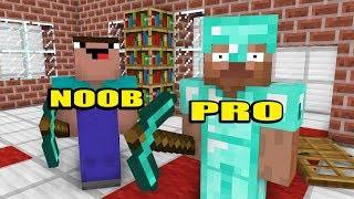 Monster School : PRO VS NOOB VS HACKER BUILDING CHALLENGE - Minecraft Animation