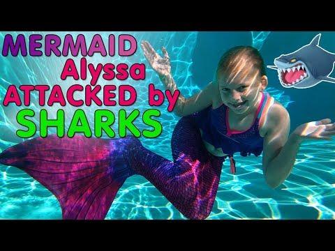 Kid Sharks Attack Mermaid Alyssa!!