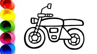 Glitter Toy Motorcycles Coloring Pages For Kids,Toddlers | Glitter Motorcycle Toy Coloring|Colorsfun