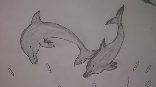 Delfine malen. Wie zeichnet man Delfine mit dem Bleistift.  Einfach.