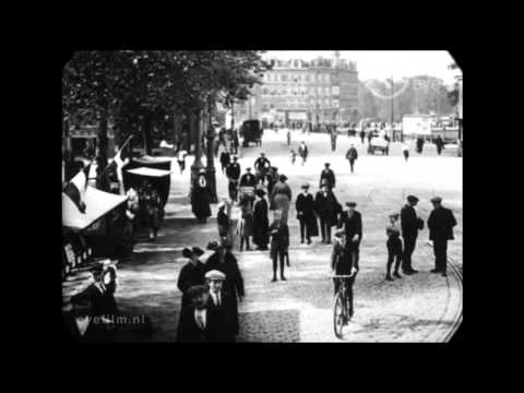 1922 - A Trip Through the Streets of Amsterdam (speed corrected w/ added sound)