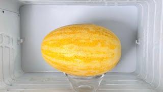 Frieren Sie die Melone ein, Sie werden vom Ergebnis begeistert sein! Gesund und schnell dessert.