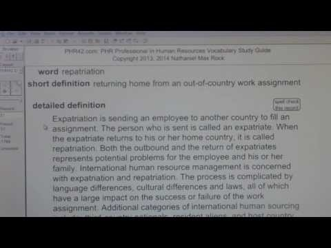 repatriation, repatriate PHR SPHR Professional In Human Resources License Exam VocabUBee.com
