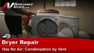 Whirlpool Dryer Repair - Replacing blower wheel, pulley & belt - condensation by vent - WED8200YW