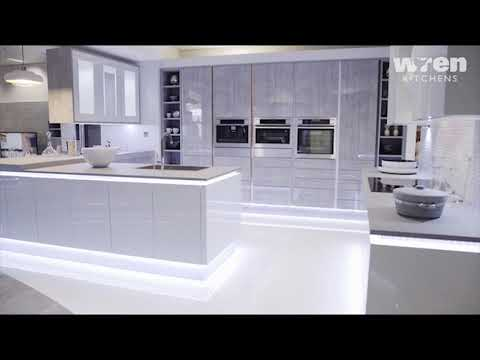 Wren kitchens milano contour seafoam youtube for Unique design milano