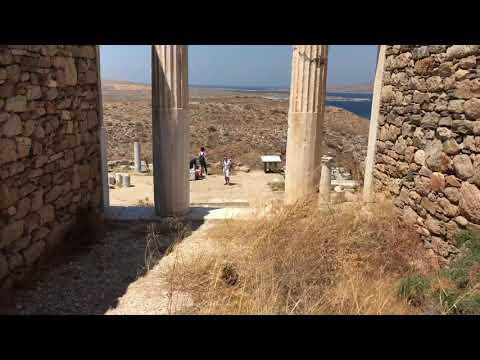Inside the Temple of Athena Delos Island ruins Greece.