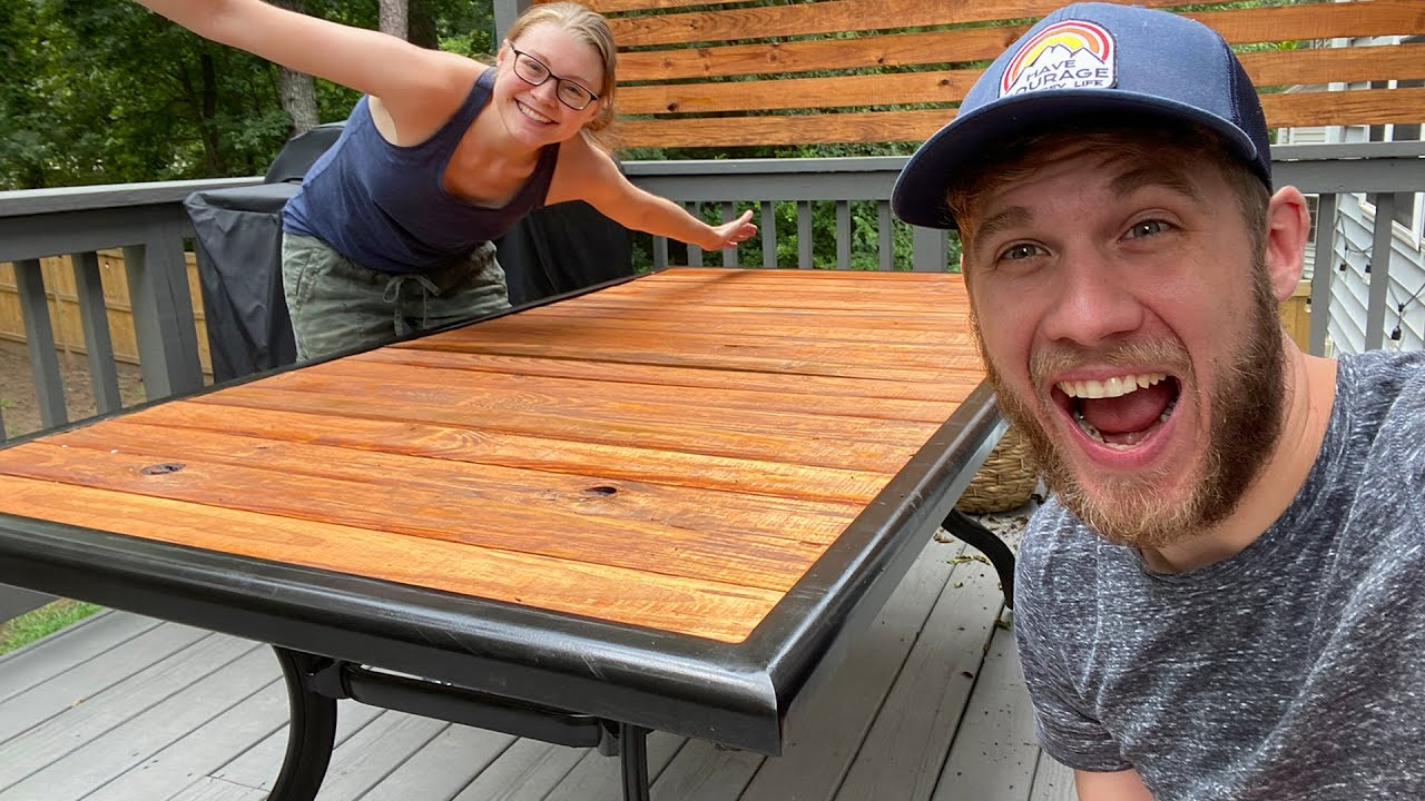 converting our broken glass patio table into a beautiful wooden table