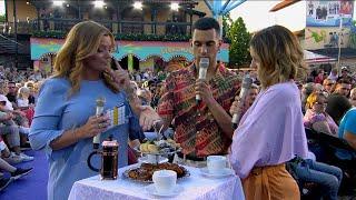 Nicole Falciani agerar tolk till italienska Mahmood och reder ut vad en svens… - Sommarkrysset (TV4)