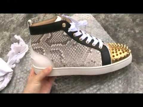 quality design 7e18a d624a Super Perfect Christian Louboutin Snakeskin Leather High top Lou Spikes  Men's Flat Sneakers
