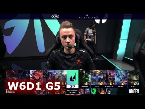 Fnatic vs Origen | Week 6 Day 1 of S9 LEC Spring 2019 | FNC vs OG W6D1