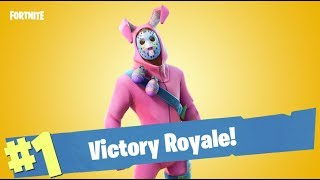 Bunny Skin Solo Win *NEW* Rabbit Raider Gameplay ( Fortnite Battle Royale )