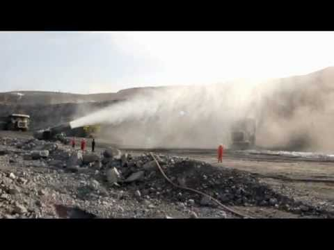 quarry site dust control by water fog suppression