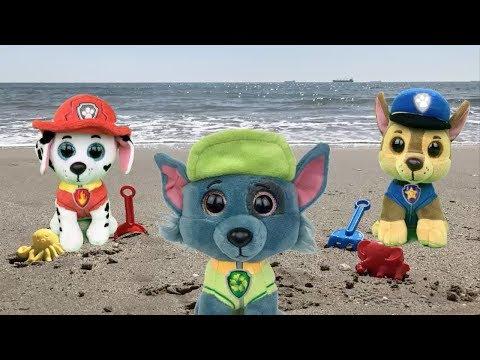 Juguetes paw patrol español:bebes! Rocky de la playa a la patrulla canina.Nuevo capitulo de 2018