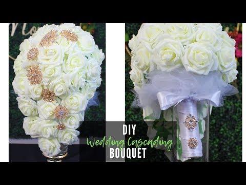 diy-wedding-bridal-cascading-bouquet-💐💍-how-to-make-a-bridal-bouquet-tutorial-|-teardrop-bouquet