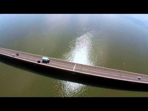 空撮映像 霞ヶ浦鯉養殖場・霞ヶ浦大橋:茨城県かすみがうら市