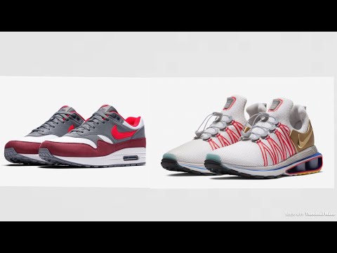 NIKE AIR MAX 1 UNIVERSITY RED COOL GREY AND NIKE SHOX GRAVITY METALLIC GOLD  REVIEW&RELEASE DETAILS