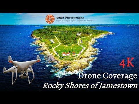 4K Drone Coverage   Rocky Shores of Jamestown, Rhode Island