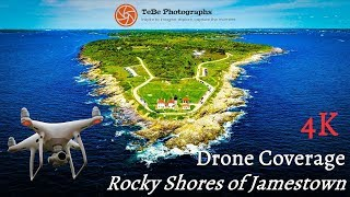 4K Drone Coverage | Rocky Shores of Jamestown, Rhode Island
