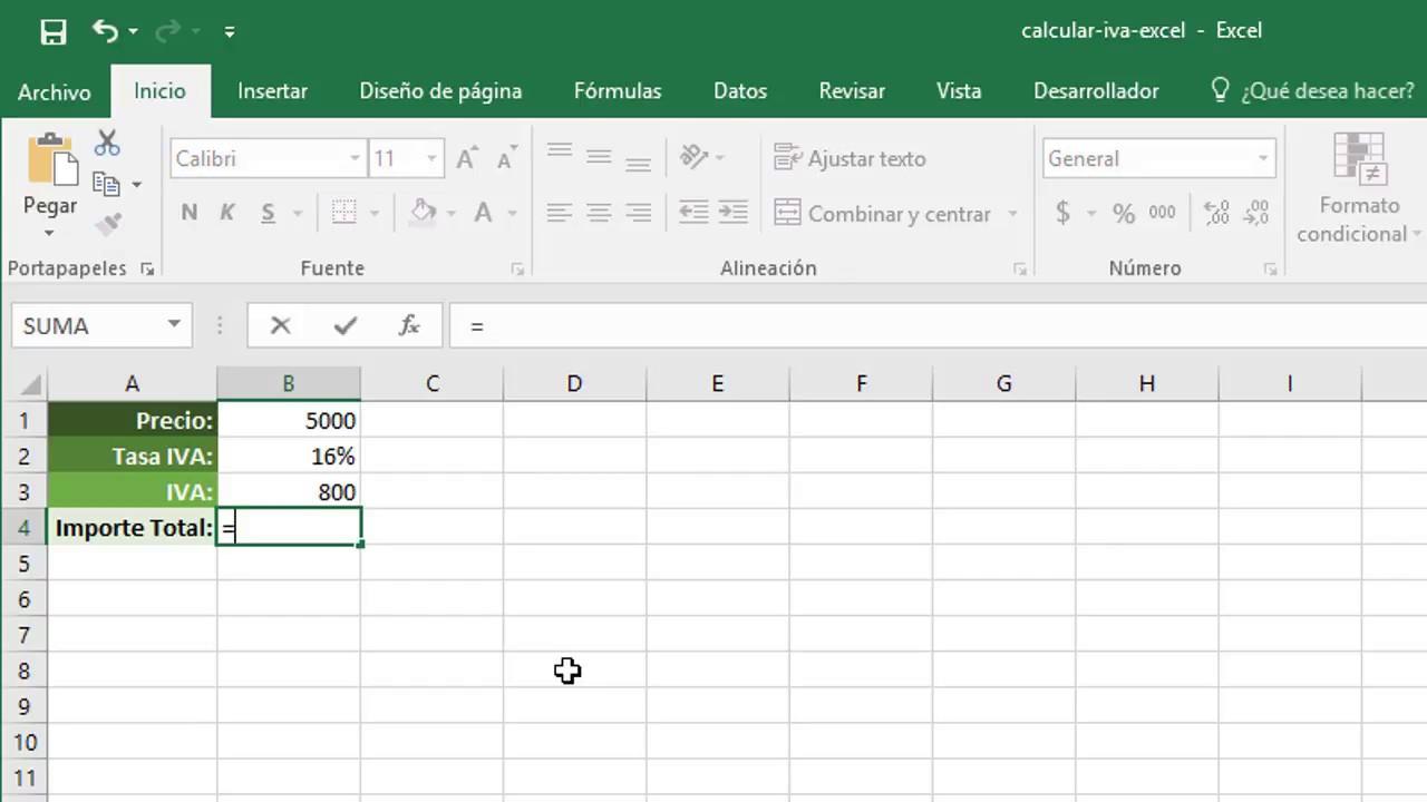 Cómo Calcular El Iva En Excel Youtube