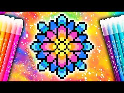 Tuto Pixel Art Mandala Psychédélique H34 X L34