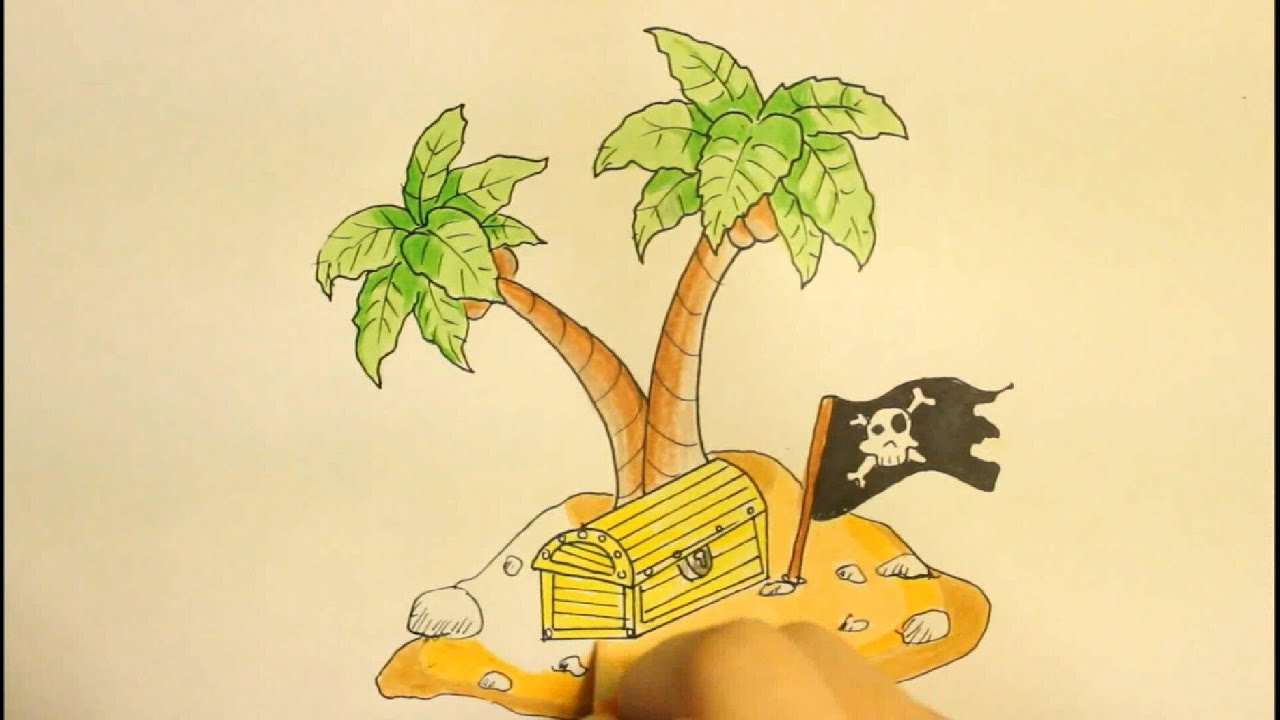 how to draw a island with palm tree and treasure box easy step by