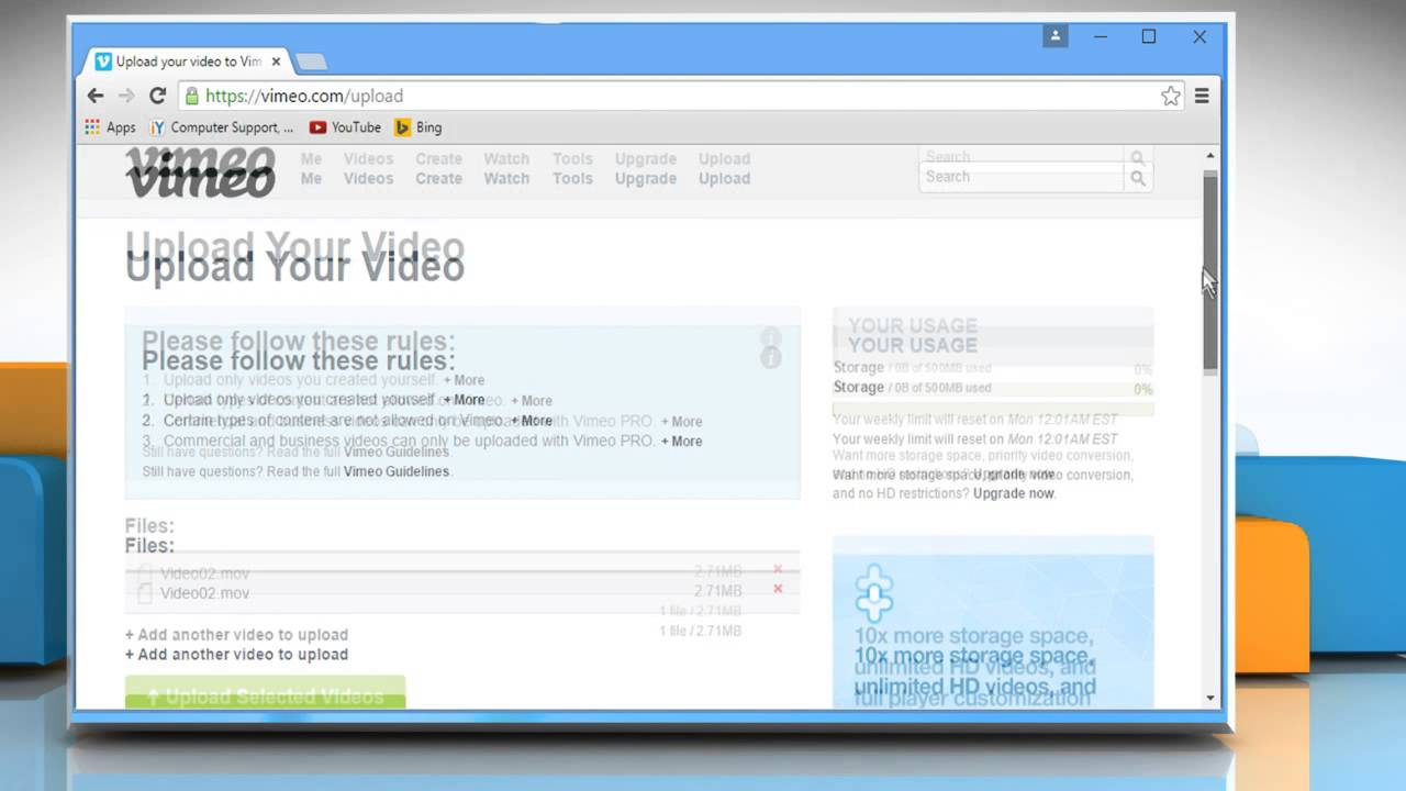 How to upload a video to Vimeo®
